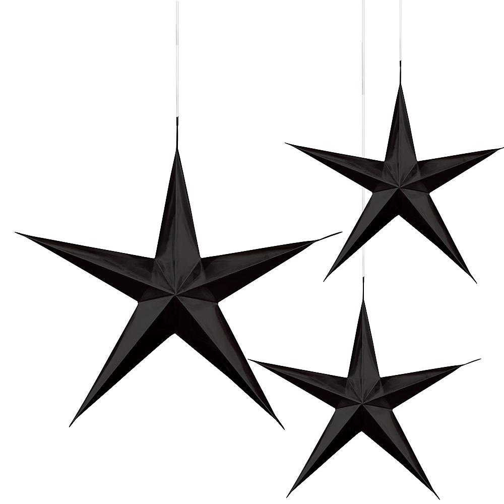 3D Black Star Decorations 3ct Image #1
