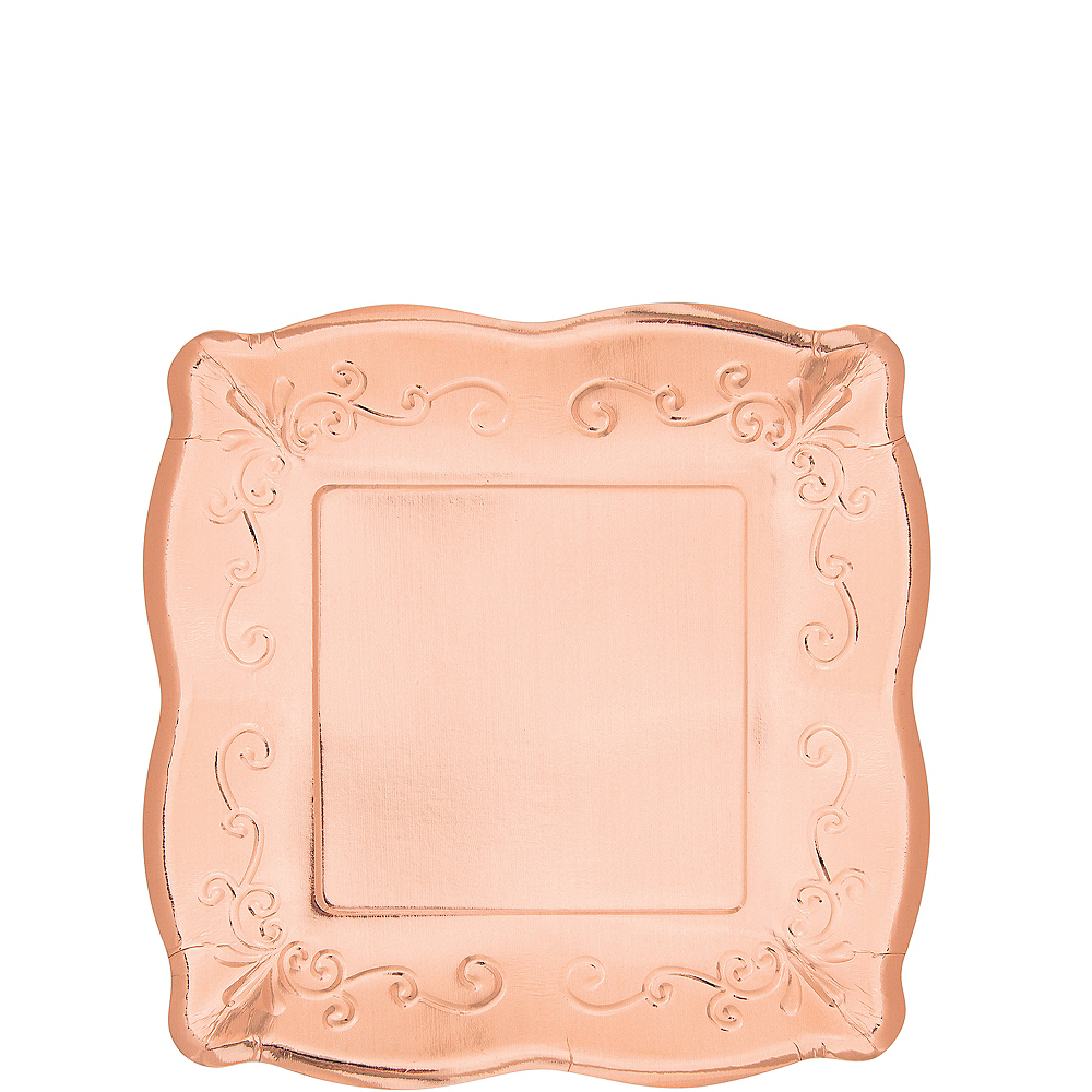 Rose Gold Scroll Dessert Plates 8ct Image #1