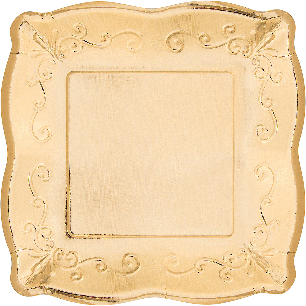 Gold Scroll Dinner Plates 8ct Image #1