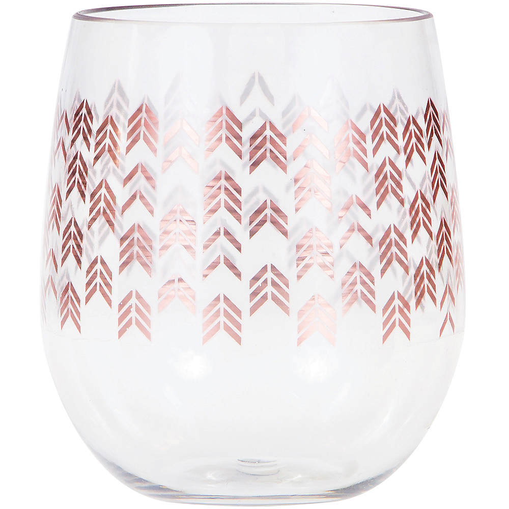 Rose Gold Chevron Plastic Stemless Wine Glass Image #1