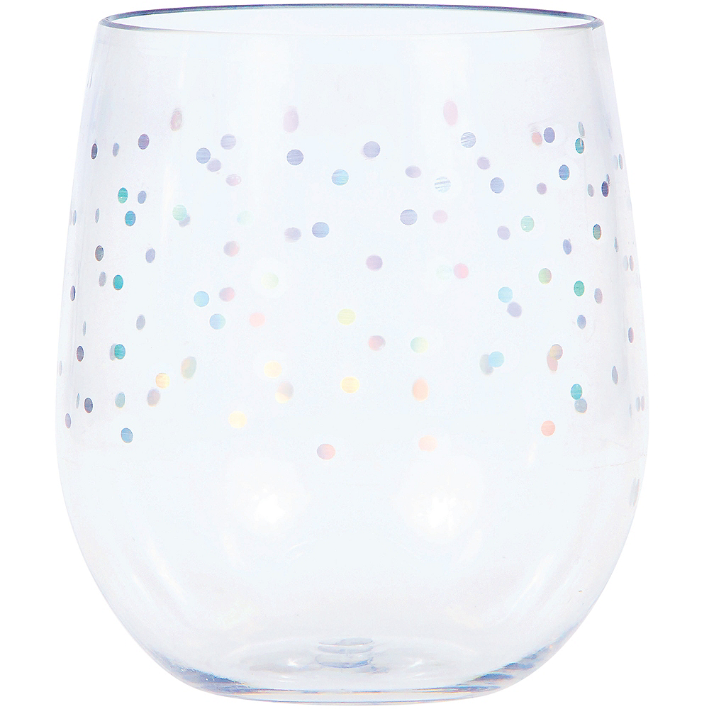 Iridescent Dots Plastic Stemless Wine Glass Image #1