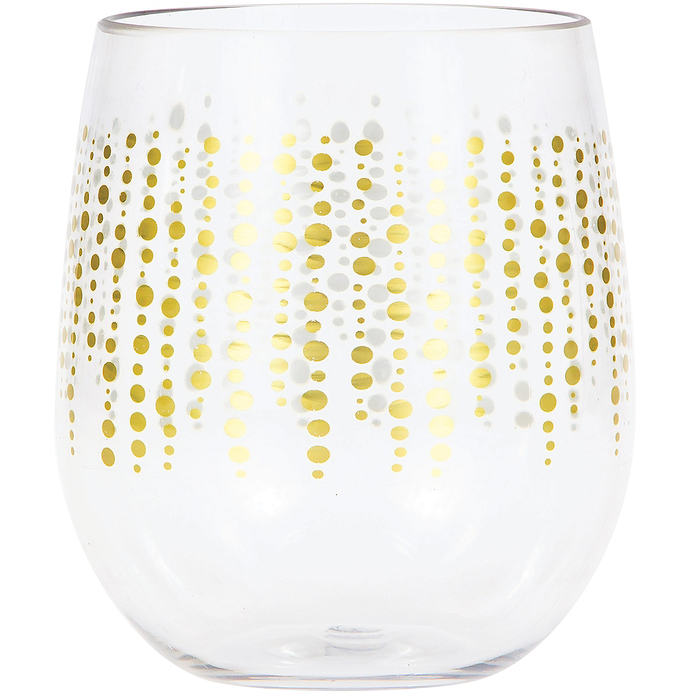 Glittering Gold Dots Plastic Stemless Wine Glass Image #1