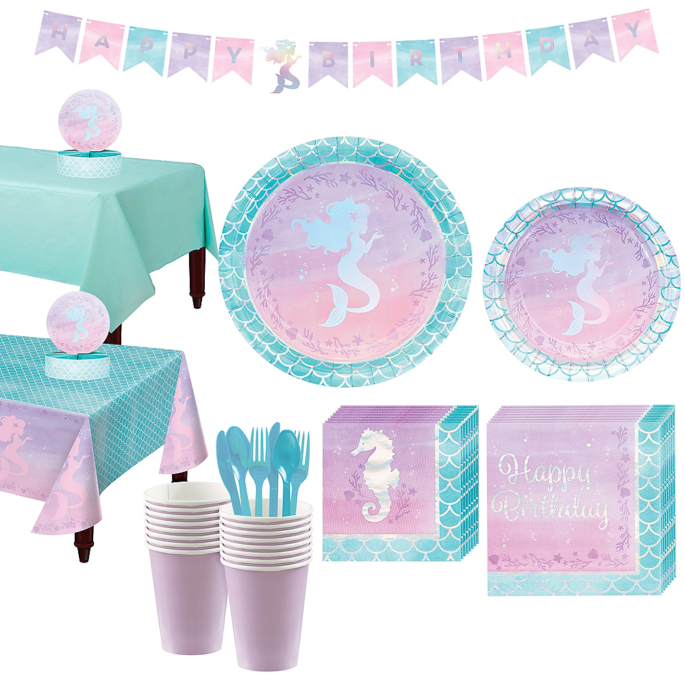 Shimmer Mermaid Basic Party Kit for 16 Guests Image #1