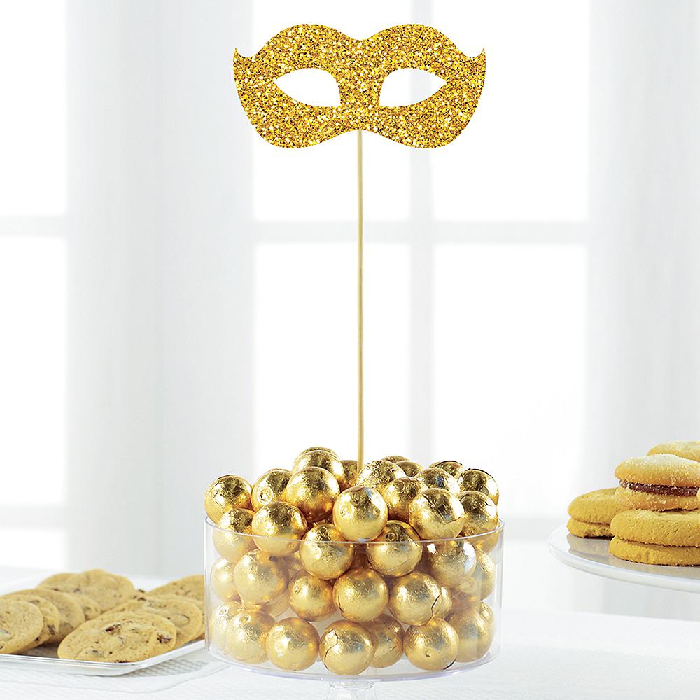Glitter Gold Masquerade Mask Picks 2ct Image #1