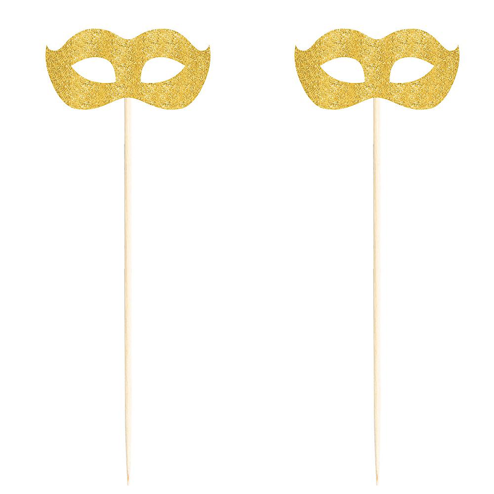 Glitter Gold Masquerade Mask Picks 2ct Image #2