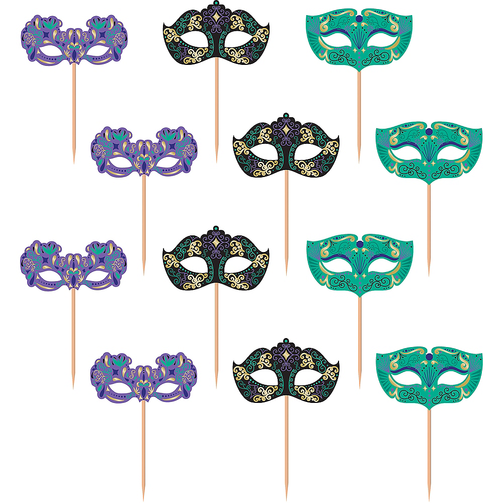 A Night in Disguise Masquerade Cupcake Picks 24ct Image #1