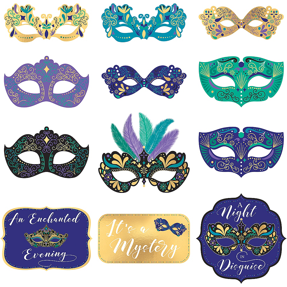 A Night in Disguise Masquerade Cutouts 12ct Image #1