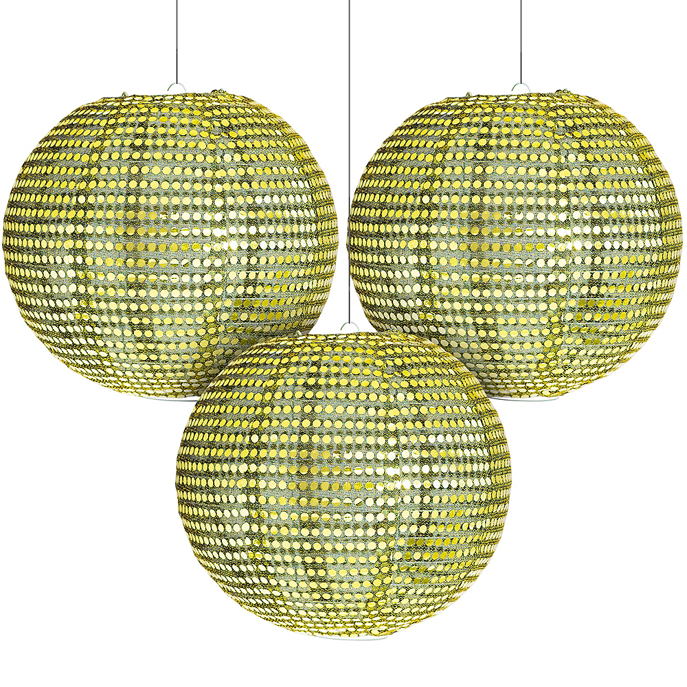 Sequin A Night in Disguise Masquerade Lanterns 3ct Image #1