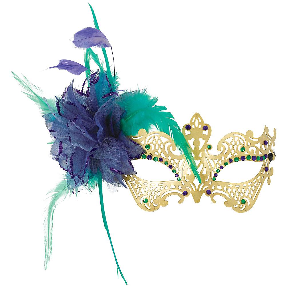 Gold, Green & Purple Filigree Feather Masquerade Mask Image #1