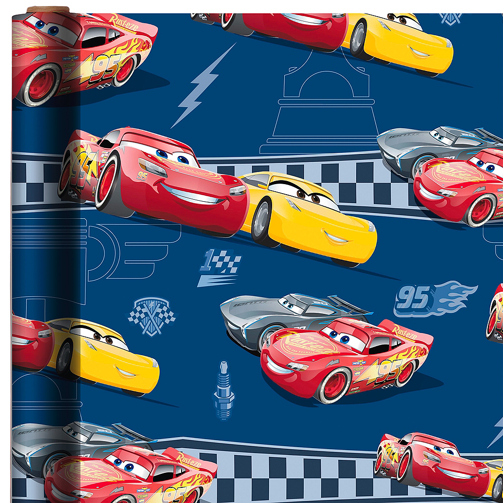 Lightning Mcqueen Cruz Ramirez Gift Wrap 8ft X 30in Cars 3