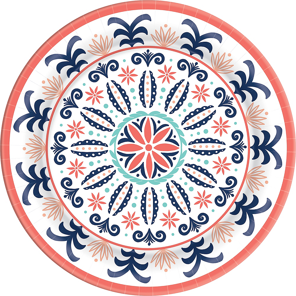 Bright Coral Tile Dinner Plates 8ct Image #1