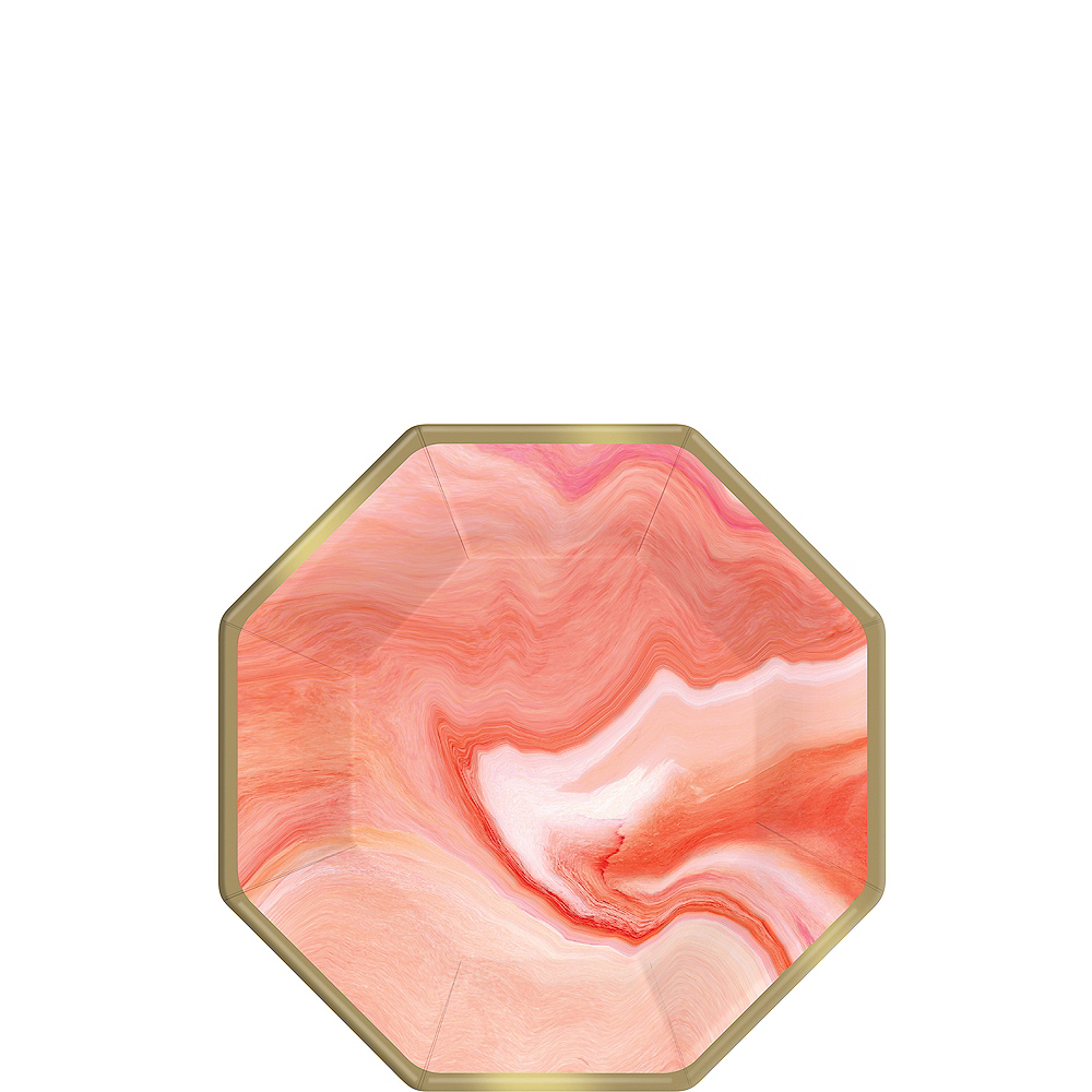 Bright Coral Marble Dessert Plates 8ct Image #1