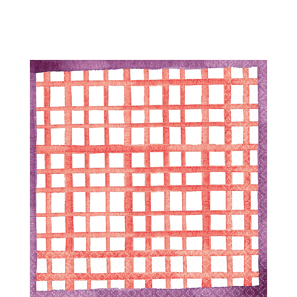 Bright Coral Grid Lunch Napkins 16ct Image #1