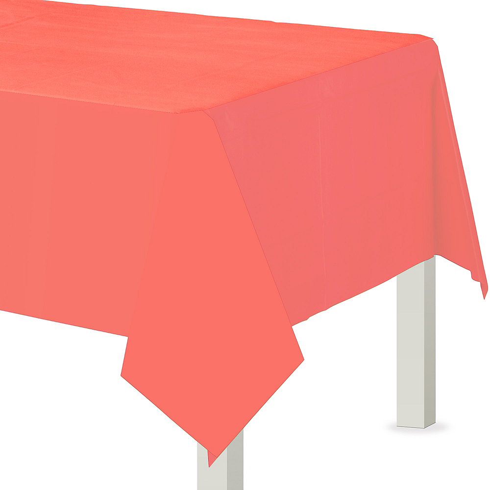 Bright Coral Plastic Table Cover Image #1