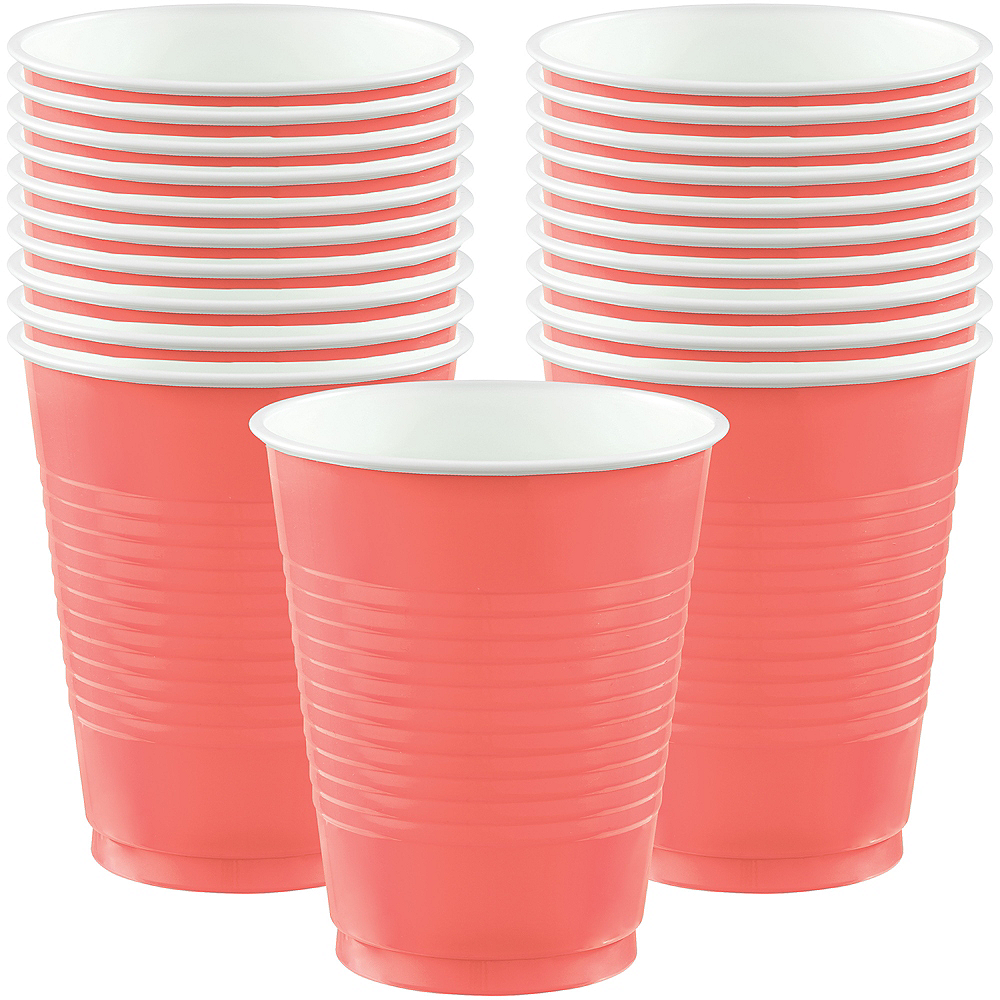 Bright Coral Plastic Cups 20ct Image #1