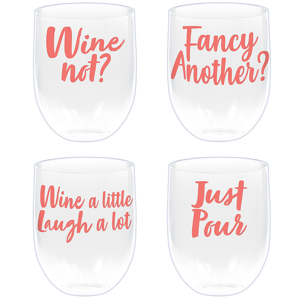 Bright Coral Stemless Wine Glasses 4ct Image #1