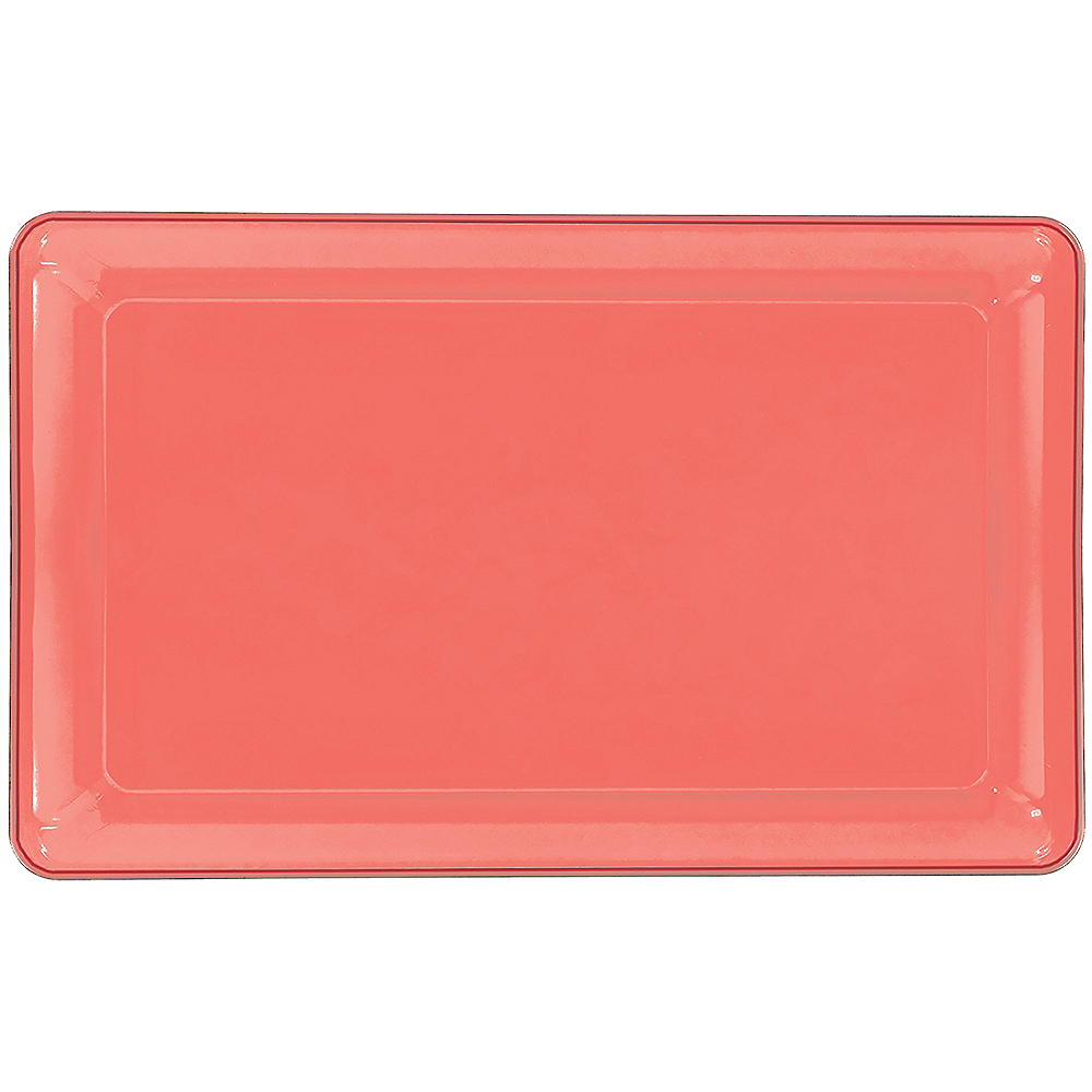 Bright Coral Plastic Rectangular Platter Image #1