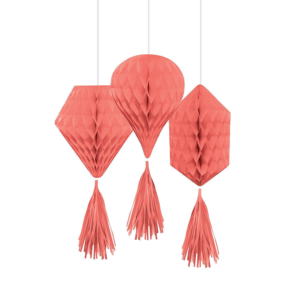 Bright Coral Mini Honeycomb Decorations with Tails 3ct Image #1