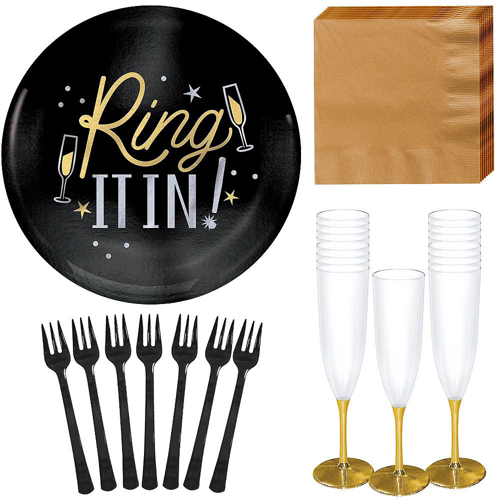 Deluxe Black New Year's Eve Appetizer Kit for 40 Guests Image #1