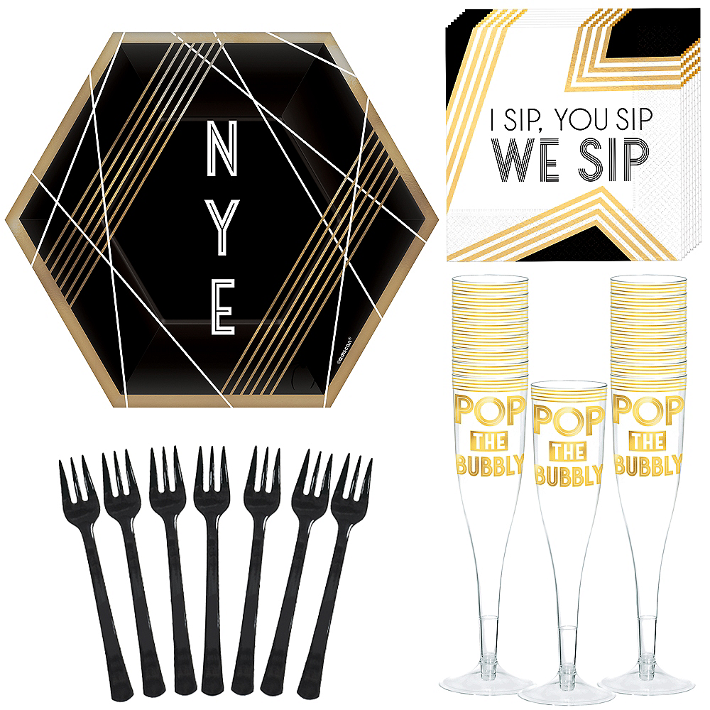 Deluxe Black New Year's Eve Appetizer Kit for 16 Guests Image #1