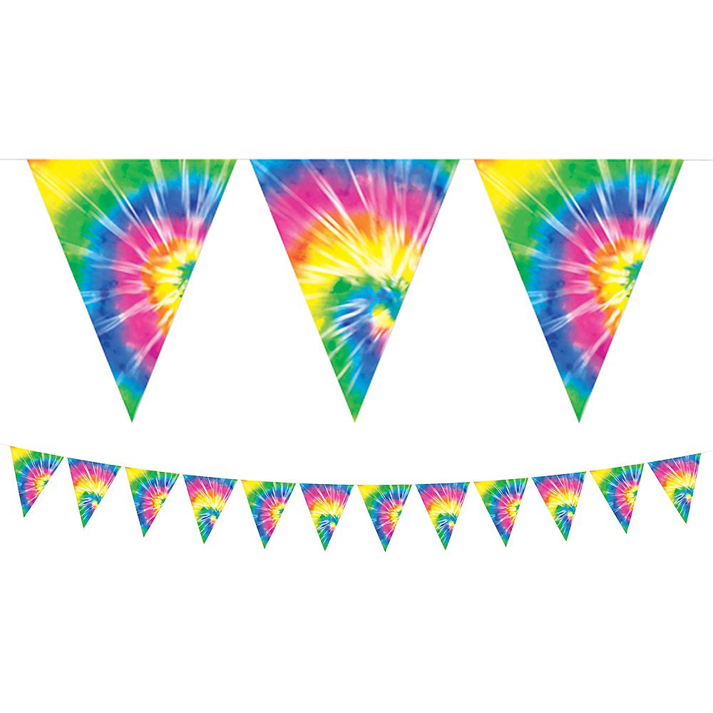 60s Tie-Dye Pennant Banner Image #1