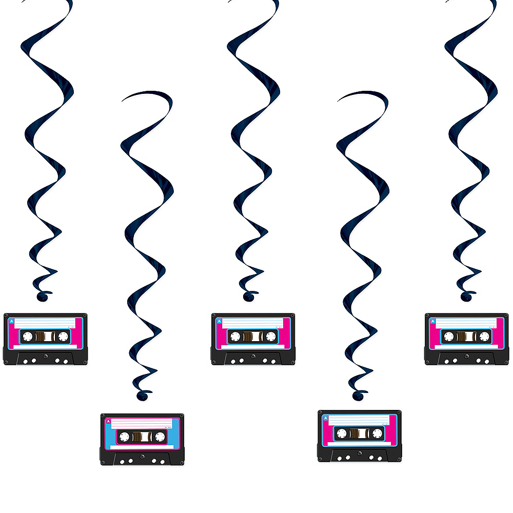 80s Cassette Tape Swirl Decorations 12ct Image #1