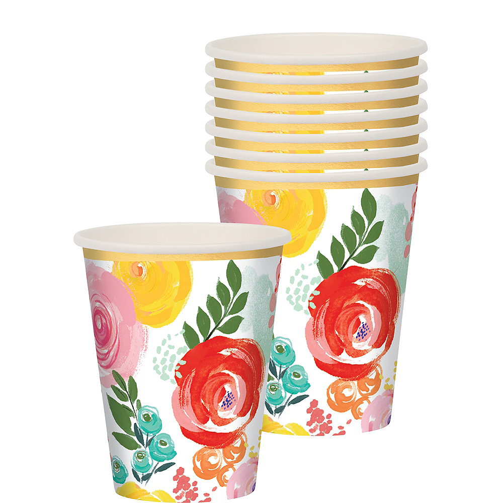Bright Floral Cups 8ct Image #1