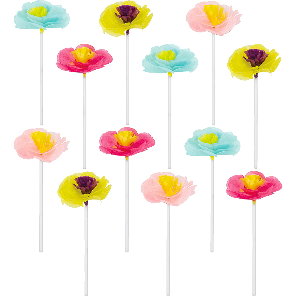 Bright Floral Cupcake Picks 12ct Image #1