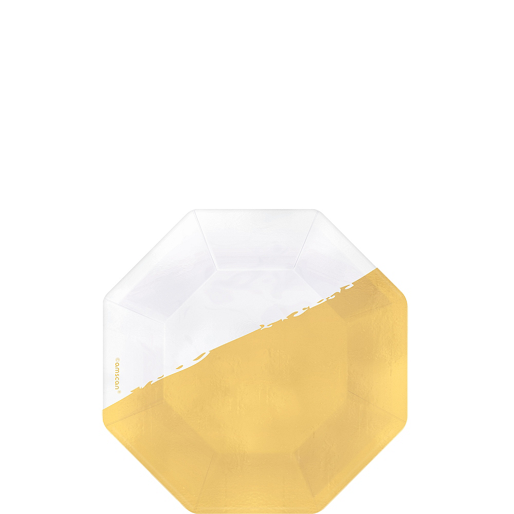Metallic Gold & White Dessert Plates 36ct Image #1