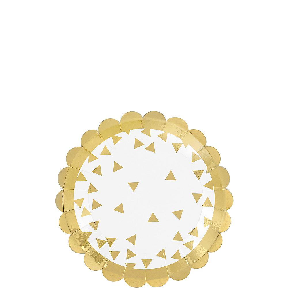 Metallic Gold Scalloped Dessert Plates 36ct Image #1