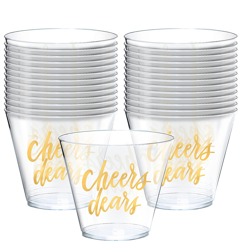 Metallic Gold Cheers Dears Plastic Cups 30ct Image #1