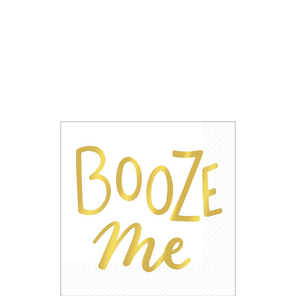 Metallic Gold Booze Me Beverage Napkins 16ct Image #1