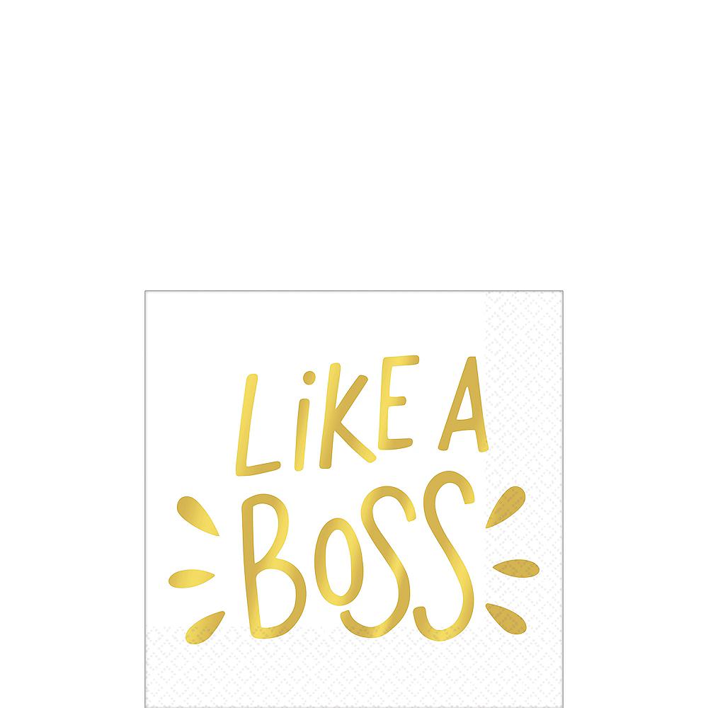 Metallic Gold Like A Boss Beverage Napkins 16ct Image #1