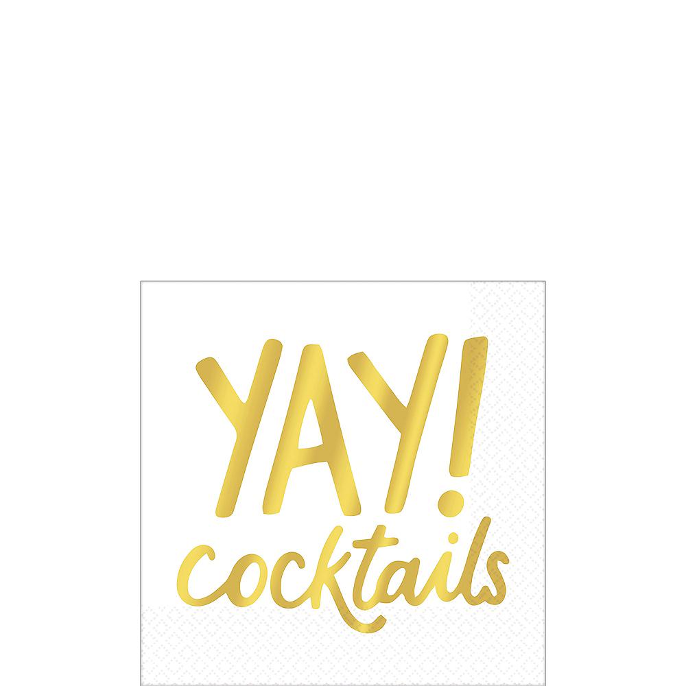 Metallic Gold Yay Cocktails Beverage Napkins 16ct Image #1
