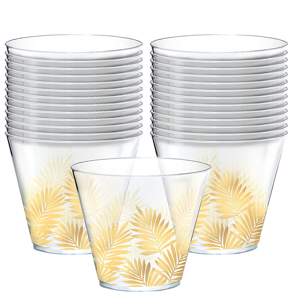 Metallic Gold Key West Palm Leaf Cups 30ct Image #1