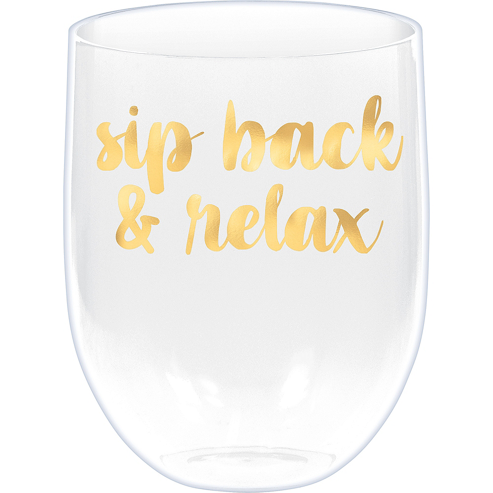 Sip Back & Relax Stemless Wine Glass Image #1