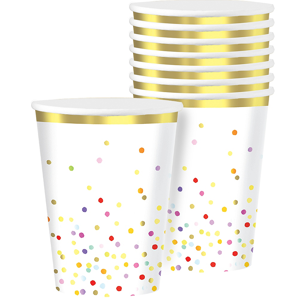 Rainbow Confetti Cups 8ct Image #1