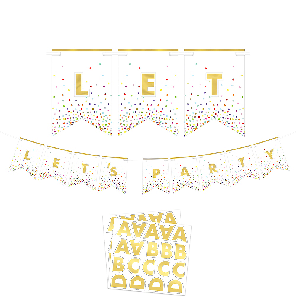 Customizable Rainbow Confetti Pennant Banner Kit Image #1