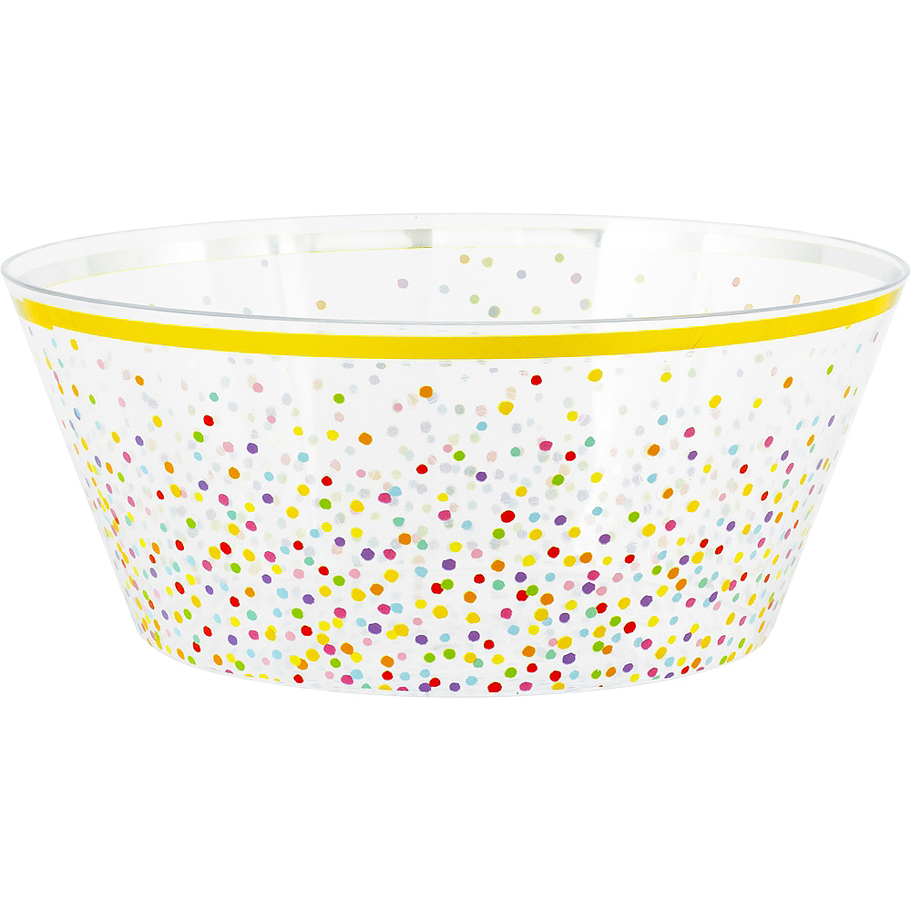 Rainbow Confetti Plastic Serving Bowl Image #1