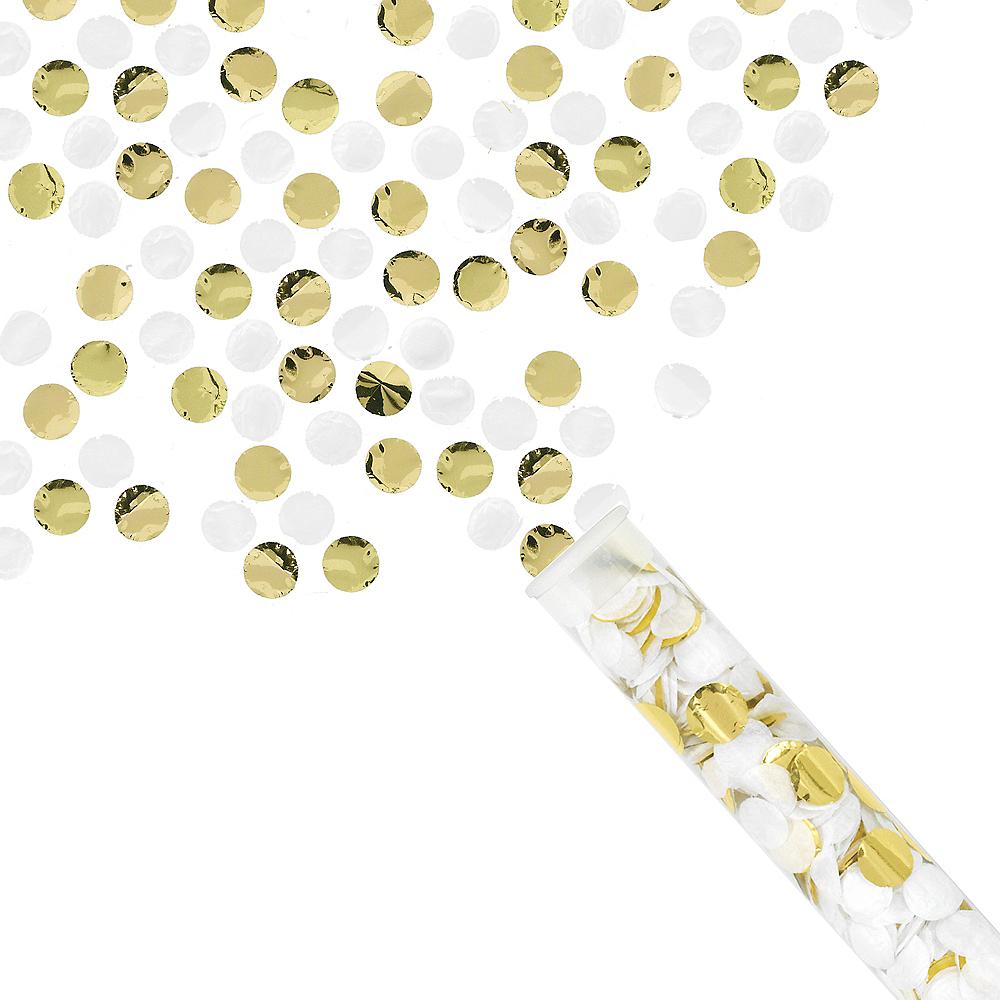 Metallic Gold & White Confetti Tubes 4ct Image #2