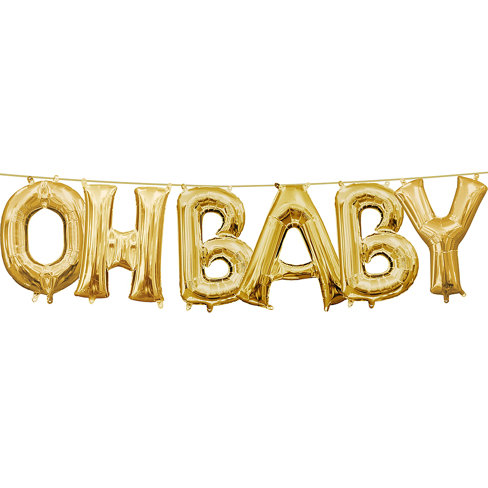 13in Air-Filled Gold Oh Baby Letter Balloon Kit Image #1