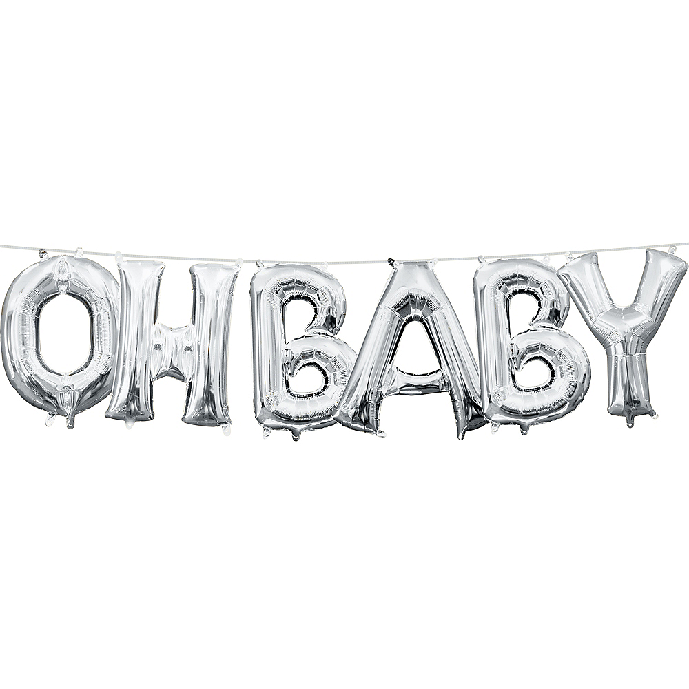 13in Air-Filled Silver Oh Baby Letter Balloon Kit Image #1