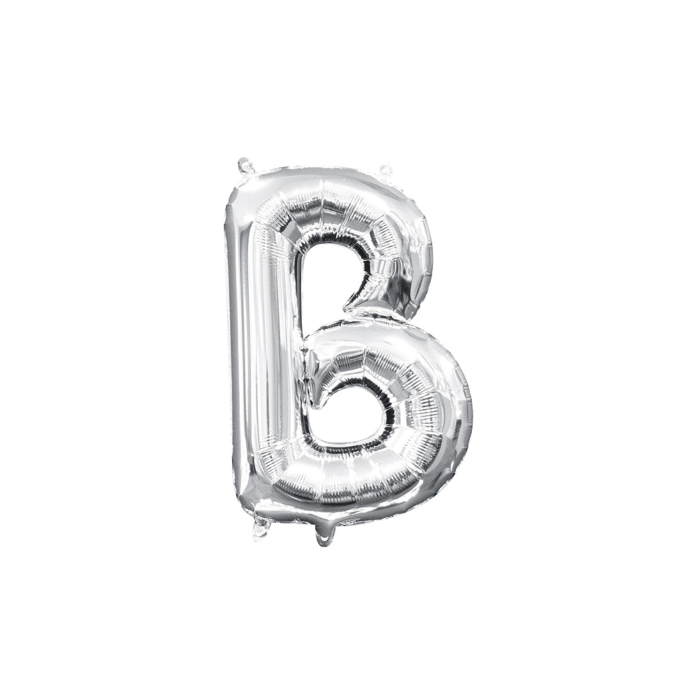 13in Air-Filled Silver Oh Baby Letter Balloon Kit Image #2