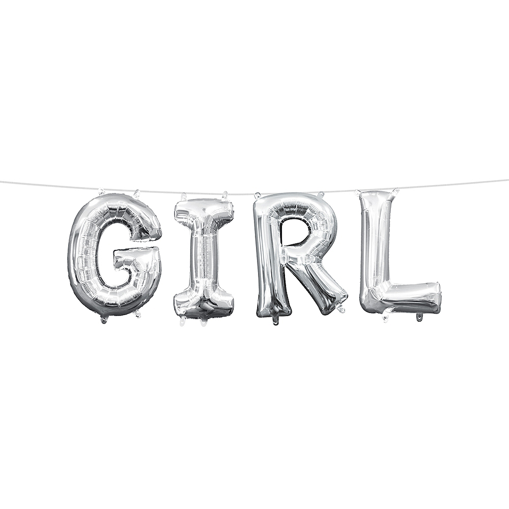 13in Air-Filled Silver Girl Letter Balloon Kit Image #1