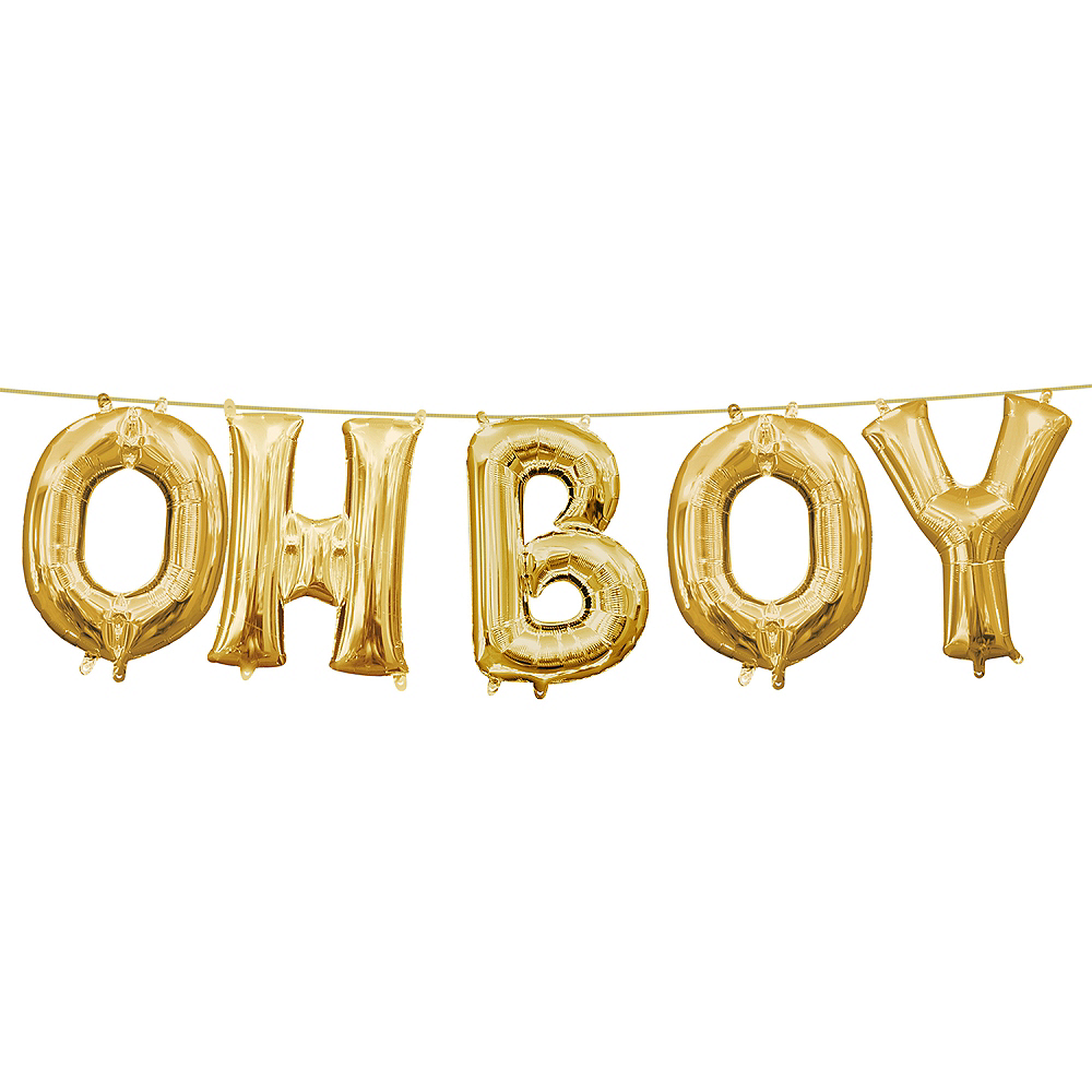 13in Air-Filled Gold Oh Boy Letter Balloon Kit Image #1