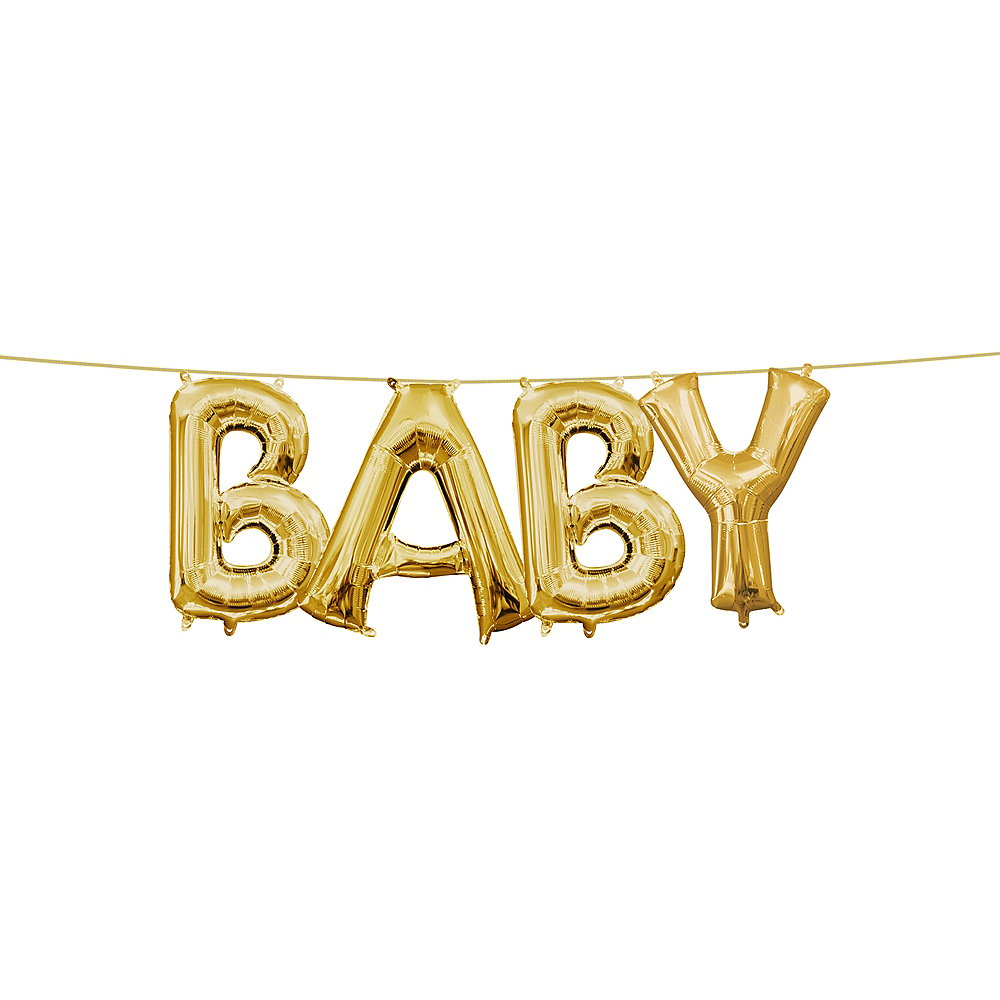 13in Air-Filled Gold Baby Letter Balloon Kit Image #1