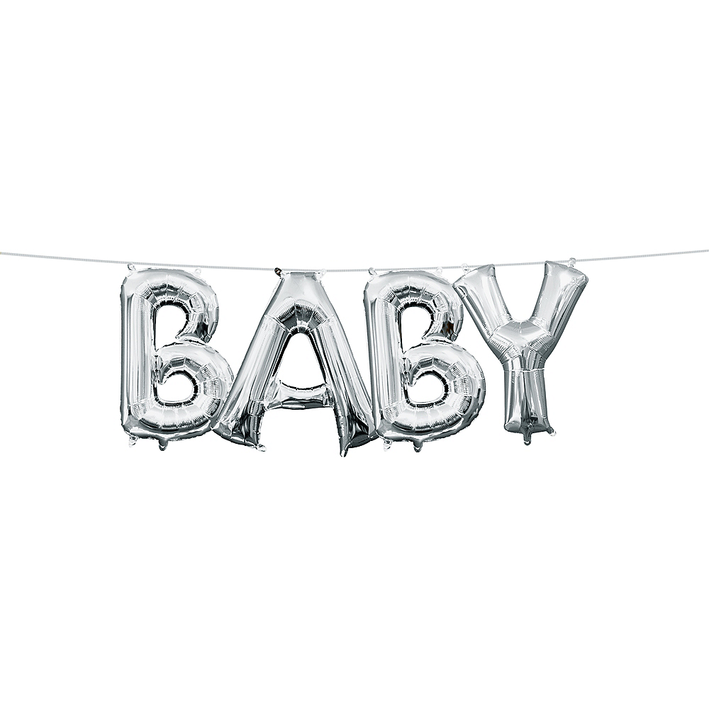 13in Air-Filled Silver Baby Letter Balloon Kit Image #1
