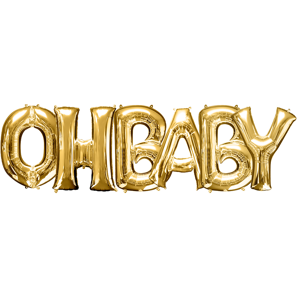 34in Gold Oh Baby Letter Balloon Kit Image #1