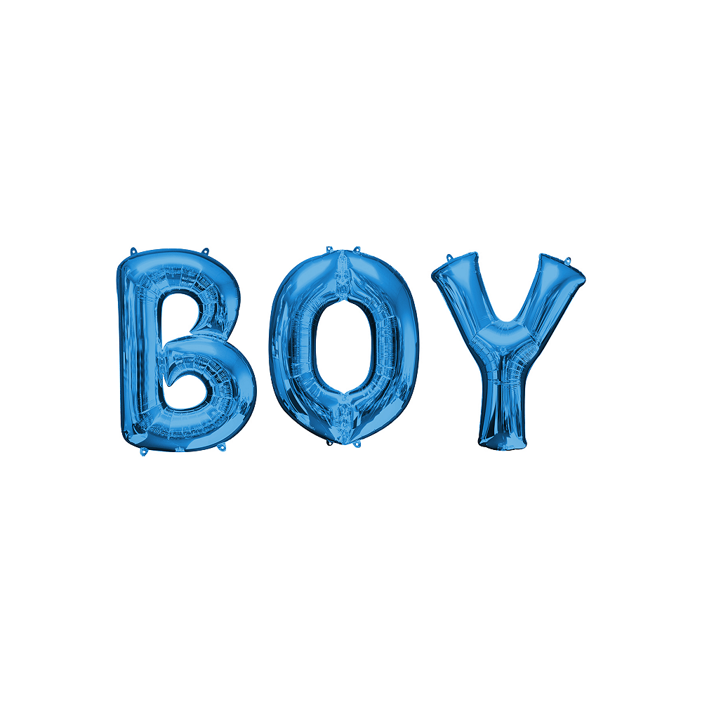 34in Blue Boy Letter Balloon Kit Image #1
