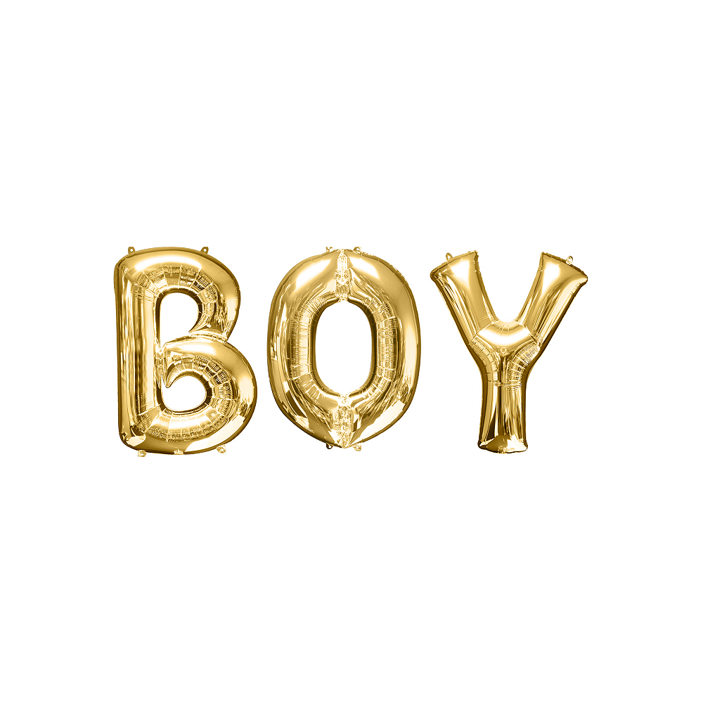 34in Gold Boy Letter Balloon Kit Image #1
